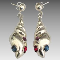 Sterling Sea Shell Pierced Glass Cab Earrings
