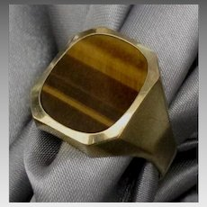 Handsome Men's 14K Tiger Eye Ring- Size 10 3/4