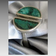 Stunning Sterling Malachite Modernist Ring