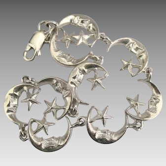 Lovely Sterling Crescent Man in the Moon Bracelet with Stars