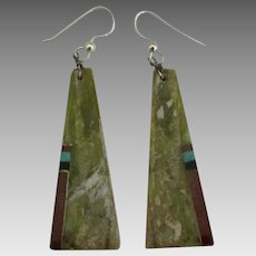 Sterling Serpentine Inlaid Mineral Pierced Earrings