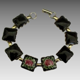 Vintage Italian Hand Painted Porcelain Link Bracelet with Roses
