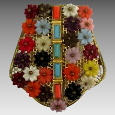 1930's Colorful Attached Flowers Fur or Dress Clip
