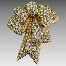1990's Nolan Miller Crystal Pave Double Bow Brooch