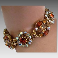 Fabulous Vendome Burnt Orange Rhinestone Bracelet