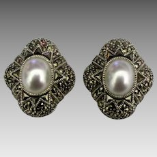 Signed Judith Jack Sterling Marcasite Faux Pearl Earrings