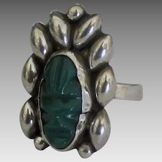 Vintage Sterling Carved Green Onyx Mask Ring- Size 6 3/4