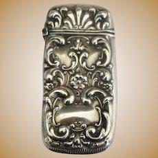 Signed Ornate Art Nouveau Match Safe