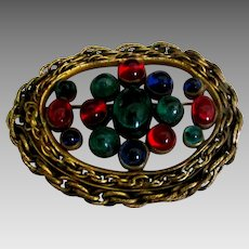 Vintage Jewel Tone Glass Jelly Belly Brooch