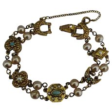 Vintage Faux Pearl Fancy Gold Tone Link Bracelet
