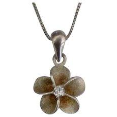 Hawaiian Plumeria Blossom Sterling Pendant with Diamond