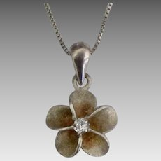 Hawaiian Plumeria Blossom Sterling Pendant with Diamond
