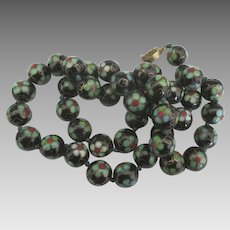 Vintage Chinese Cloisonne Black with Blue Flowers Knotted Bead Necklace- 24""