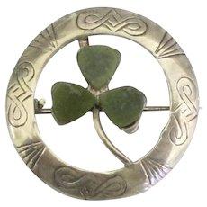 Vintage Sterling Connemara Marble Shamrock Brooch.