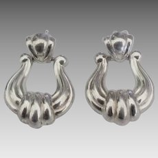 "Lovely Italian Sterling ""Door Knocker"" Pierced Earrings"
