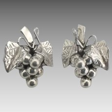 Vintage Mexico Sterling Grape Cluster RARE Pierced Earrings