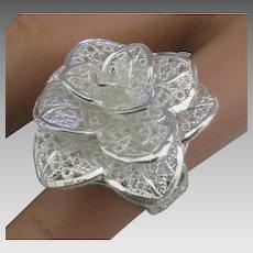 Stunning Large Sterling Filigree Rose Ring