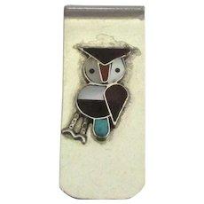 Vintage Navajo Inlaid Mineral Owl Money Clip