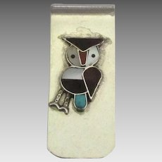 Vintage Navajo Inlaid Mineral Owl Money Clip