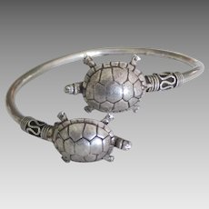 Charming Sterling Double Turtle By Pass Bracelet