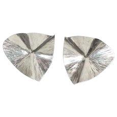 Large Shimmering Sterling Modernist Pierced Earrings