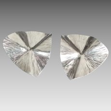 Large Shimmering Sterling Modernist Pierced Earrings