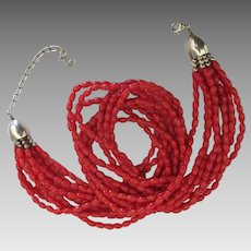 Estate Signed Sterling Red Coral 10 Strand Torsade Necklace