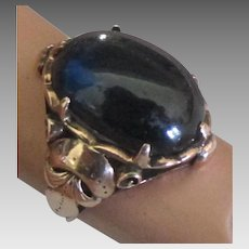 Beautiful Estate 1920's 10K Rose Gold Ring with Deep Blue Cabochon