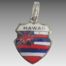 Vintage Enamel Sterling Hawaii Travel Shield Charm