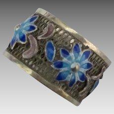 Vintage Sterling Blue Enamel Flowers Ring