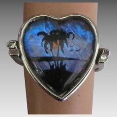 Vintage Morpho Reverse Painted Butterfly Wing Ring- Size 6