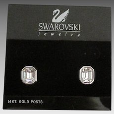 Swarovski Clear Crystal Pierced Earrings- 14K Posts
