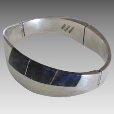 Inlaid Taxco Sterling Hinged Bracelet- 61 Grams!