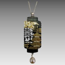 Large Japanese Damascene Lantern Pendant and Sterling Chain
