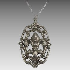 Vintage Ornate Sterling Fleur de Lis Pendant and Chain