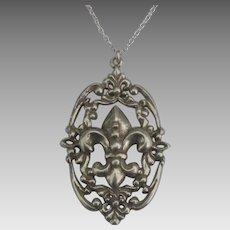 Vintage Ornate Sterling Fleur de Lis Pendant and Chain