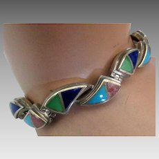 Beautiful Vintage Signed Inlaid Sterling Bracelet