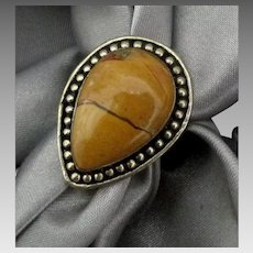 Vintage Sterling Pear Shape Yellow Gold Jasper Ring- Size 7