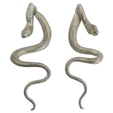 Vintage Sterling Movable Snake Pierced Earrings