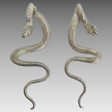 Vintage Sterling Movable Snake Pierced Earrings