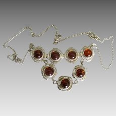 Stunning Vintage Sterling Baltic Amber Bib Necklace