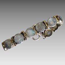 Shimmering Sterling Faceted Labradorite Link Bracelet