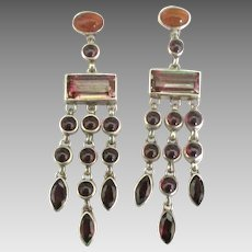Lovely Sterling Garnet Carnelian Dangle Pierced Earrings