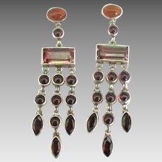 Lovely Sterling Garnet Carnelian Dangle Pierced Earrings