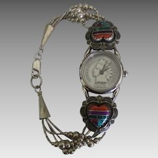Estate Southwest Inlaid Heart Wrist Watch