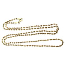 """10K Yellow Gold Rolling Twisted Rope 24"""" Chain Necklace"""