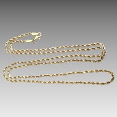 "10K Yellow Gold Rolling Twisted Rope 24"" Chain Necklace"