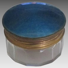 Vintage Blue Guilloche Glass Vanity Jar or Box