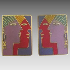 "Large Laurel Burch ""Soul Mates"" Pierced Earrings"