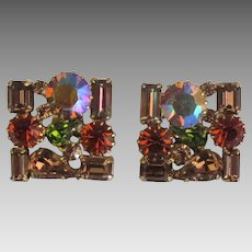 Sparkling Vintage Weiss Square Rhinestone Earrings